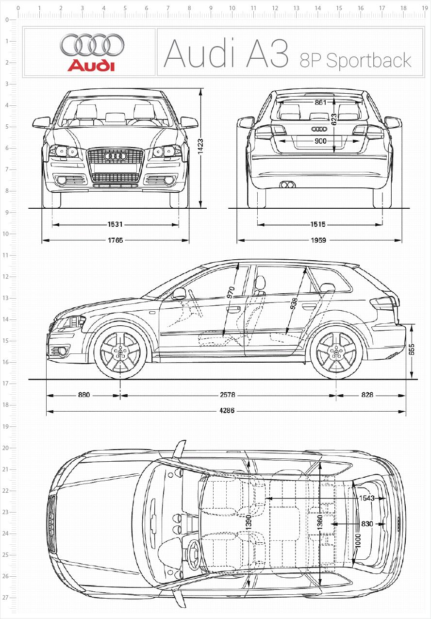 Audi A3 8p Sportback Wymiary